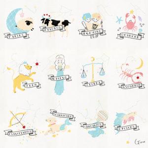 12星座イラスト 星座と誕生石のベビーポスター / WEB SHOP 星のアトリエ by Guu
