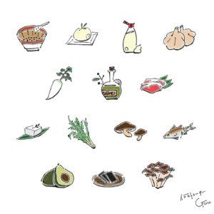 HOT PEPPER(ホットペッパー)『タイプ診断でわかる 太らない食べ方』健康食材イラスト