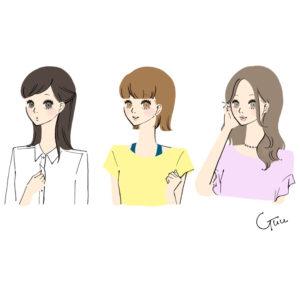 長女 次女 三女 美人3姉妹 イラスト