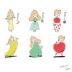 HOT PEPPER(ホットペッパー)『タイプ診断でわかる 太らない食べ方』バナナ/洋ナシ/リンゴ 型 3タイプ診断イラスト