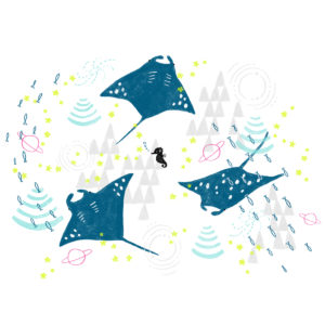 宇宙を泳ぐマンタ #テキスタイル